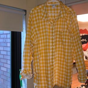 OLD NAVY checkered yellow and white button down